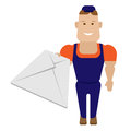 Mail worker illustration of on white background Royalty Free Stock Images