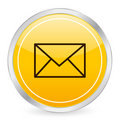 Mail yellow circle icon Stock Images