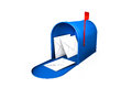 Mailbox d render of a blue isolated in white Royalty Free Stock Photo