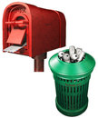 Mailbox and garbage can image Royalty Free Stock Images