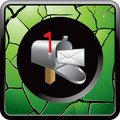 Mailbox with letter in cracked green web icon Stock Photo