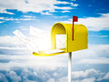 Mailbox in the sky d render of a yellow Stock Image