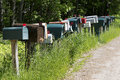 Mailboxes on a country lane Royalty Free Stock Photo