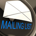 Mailing list envelope means contacts or email database meaning Royalty Free Stock Photos