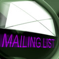 Mailing list postage means contacts or email database meaning Stock Photos