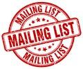 mailing list red grunge round vintage stamp