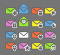 Mailing web icons collection of color Stock Photography
