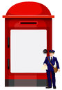 A mailman beside the big mailbox illustration of on white background Royalty Free Stock Photography