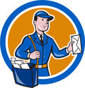 Mailman postman delivery worker circle cartoon illustration of a delivering parcel delivering letter mail set inside shape done in Stock Image