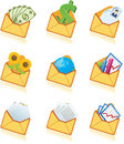 Mails yellow mails dollars flowers paper graph planet earth your business icons Stock Photo