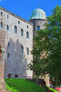 Main castle case and round Paradise tower in Vyborg Castle in Vyborg, Russia