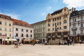 Main city square in old town in bratislava slovakia is the most populous and most visited Royalty Free Stock Image