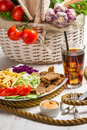 Main dish made ​​with vegetables and meat kebab on white background Royalty Free Stock Images