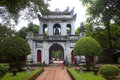 Main entrance gate to the temple of literature hanoi august on august in hanoi vietnam built in is Royalty Free Stock Photography