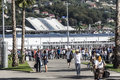 The main entrance at the Sochi autodrom from the train station. Royalty Free Stock Photo