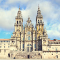 Main facade romanesque cathedral santiago de compostela honor apostle saint james world heritage pilgrimage thousands catholic Stock Image