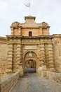 Main gate city access to mdina in malta Stock Photo