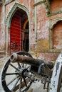 The main gate at the hostorical Ramnagar Fort in Varanasi, India Royalty Free Stock Photo