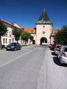 Main gate of levoca town slovakia summer view entrance called kosicka košická brána and road leading to this with Stock Photography