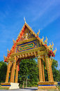 Main gate of wat phutonutidsittharam temple in surat thani thail on the blue sky background thailand Royalty Free Stock Photography