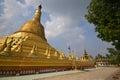 Main giant stupa of Shwemawdaw Pagoda at Bago, Myanmar with trees