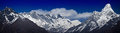 Main himalayan range panoramic view of nepalese himalayas in solukhumbu district sagarmatha national park khumbi yul lha m nuptse Royalty Free Stock Photos