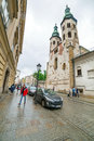 Main market square of the old town in krakow poland rainy day on on june is largest medieval Royalty Free Stock Image