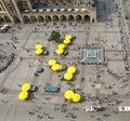 Main Market Square seen from the St.Mary church, Krakow, Poland Royalty Free Stock Photo