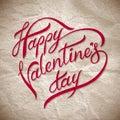 Main marquant avec des lettres le day? heureux de valentines Photographie stock