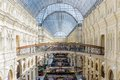 Main moscow department store may interior of the universal gum on may in gosudarstvenny universalny magazin gum lit state Royalty Free Stock Photography
