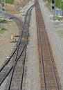 Train tracks, sidings, switch, signals Royalty Free Stock Photo