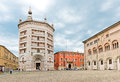 Main square of the city, with the cathedral and its baptistery Royalty Free Stock Photo