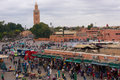 Main square in marrakech morocco the jemaa el fnaa market and souks with the koutoubia mosque the background Royalty Free Stock Photos