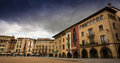 The main square of vic plaça major is medieval town in northeastern spain catalonia it is surrounded by many ancient Royalty Free Stock Photo
