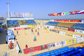 Main stadium of beach volleyball game xiamen china host the double gender fivb grand slam from october to Royalty Free Stock Photo