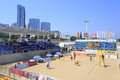 Main stadium of beach volleyball game xiamen china host the double gender fivb grand slam from october to Stock Image