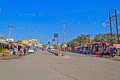 Main street in somnath january gujarat india of town is the famous pilgrimage center dedicated to lord shiva Stock Photo