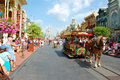 Main street u s a in disney magic kingdom in florida with the trademark cinderella castle in the back Stock Images