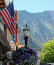 Main Street USA of a Mountain Town Royalty Free Stock Photo