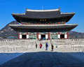 Main throne hall of gyeongbok palace traveler visit at seoul south korea Royalty Free Stock Images