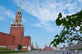 The main tower of moscow kremlin june view on red square with spasskaya this saviour or frolovskaya is Royalty Free Stock Photography