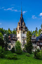 Main tower of the peles castle is a neo renaissance placed in an idyllic setting in carpathian mountains in sinaia prahova county Royalty Free Stock Photo