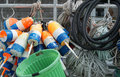 Maine fishing floats and other equipment in acadia Royalty Free Stock Photos