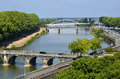 The Maine river at Angers in France Royalty Free Stock Photos