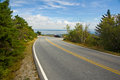 Maine roadway in going up cadillac mountain near overlooking bar harbor Stock Photography