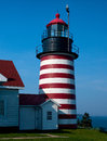 Maine s easternmost lighthouse west quoddy head is located on the most eastern point of the united states in Royalty Free Stock Photo