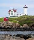 Maine s nubble light the is a lighthouse on a small rocky island at cape neddick near york Stock Photos