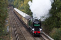 Mainline steam staines uk november ex southern pacific battle of britain class loco braunton takes the pullman vsoe around the Royalty Free Stock Photo