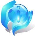 Mains bleues protégeant l'information Photographie stock libre de droits