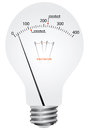Mains electricity creative filament lamp voltmeter with scale and the difference in the standards of the supply voltage vector Royalty Free Stock Photography